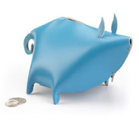Things I Love today: Blue Leather Piggy Bank