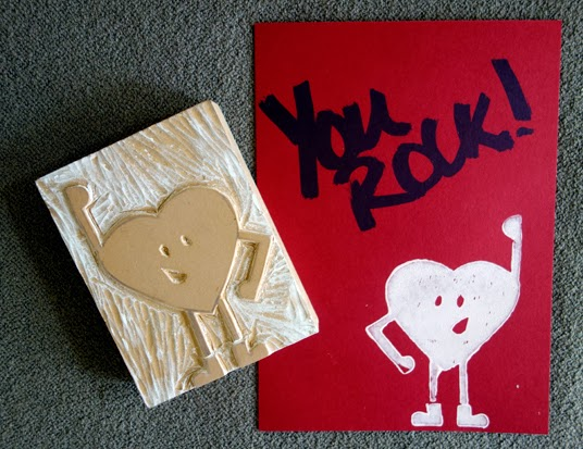 Carving a Linoleum Block Valentine's Day Card