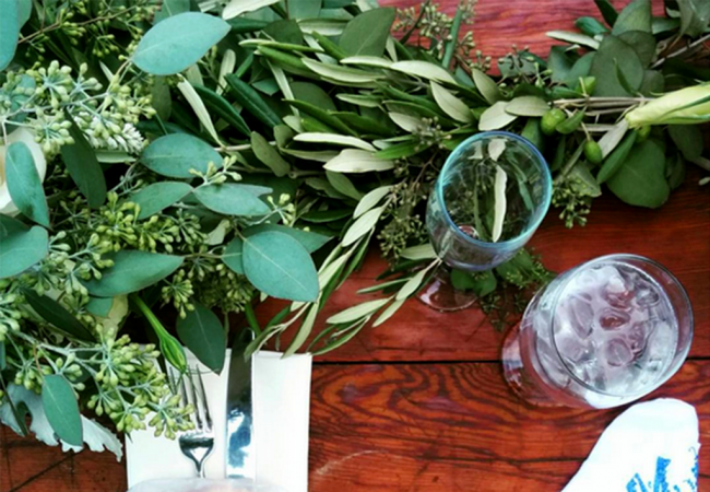 DIY Wedding Flowers with Olive Branches, Eucalyptus, Roses & Dahlias
