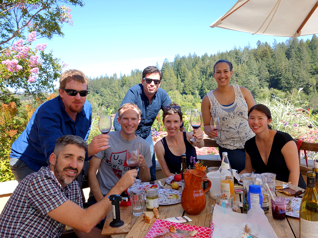 Picnic on the patio of Marimar Winery