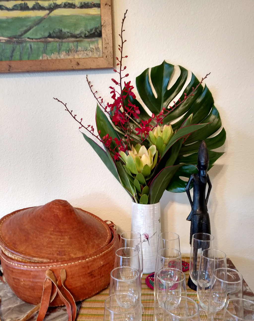 Tropical flowers and drinks for african shower