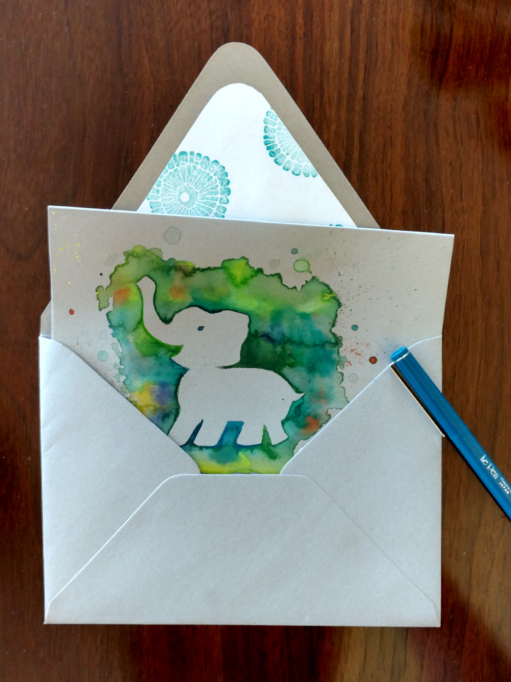 Hand painted elephant baby shower card