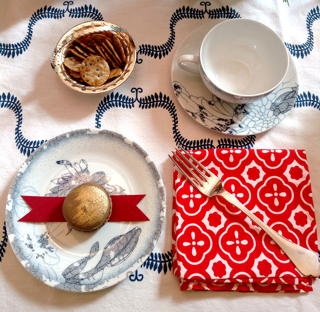 Macaron place setting for tea party