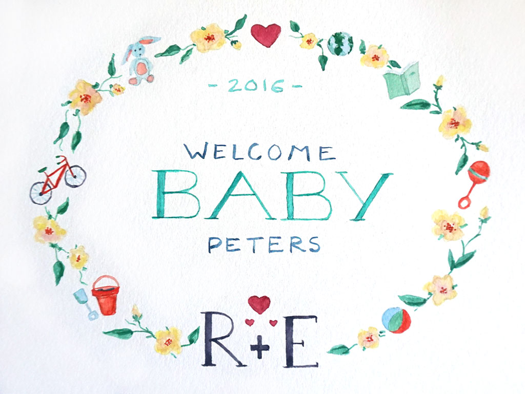 Watercolor Baby Announcement
