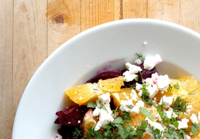 Roasted Beet, Feta and Orange Salad with Herbs