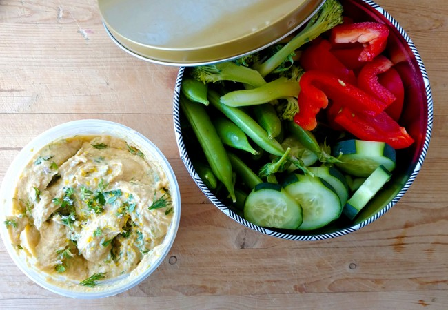 Lemon Herb Hummus for a Picnic at the Museum