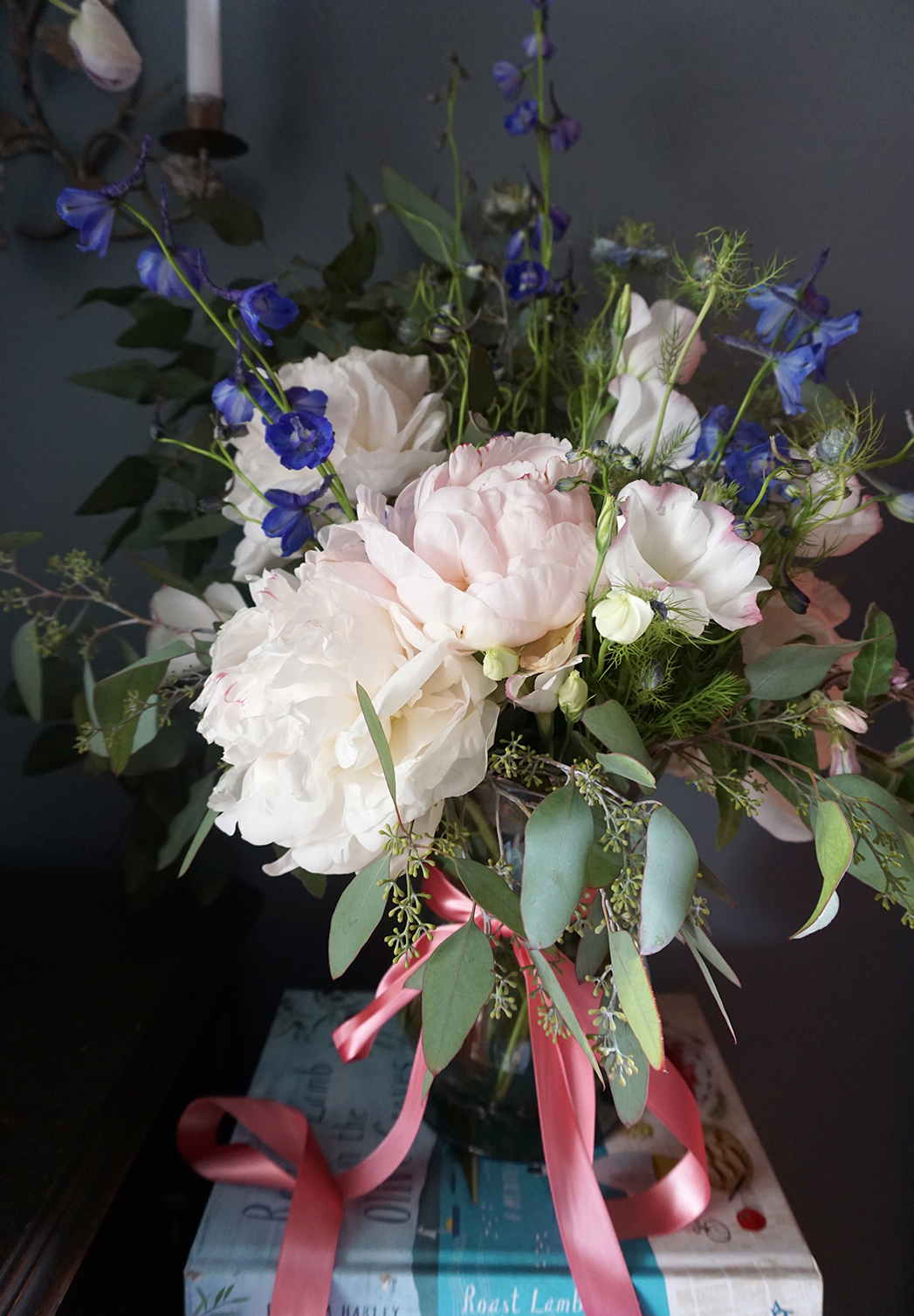 Pink and blue peony arrangement