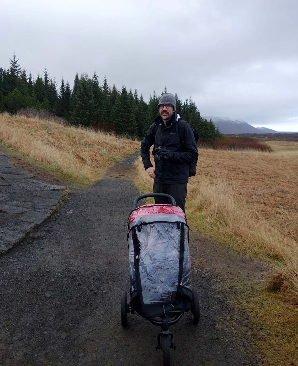 Mountain Buggy stroller in Golden Circle Iceland