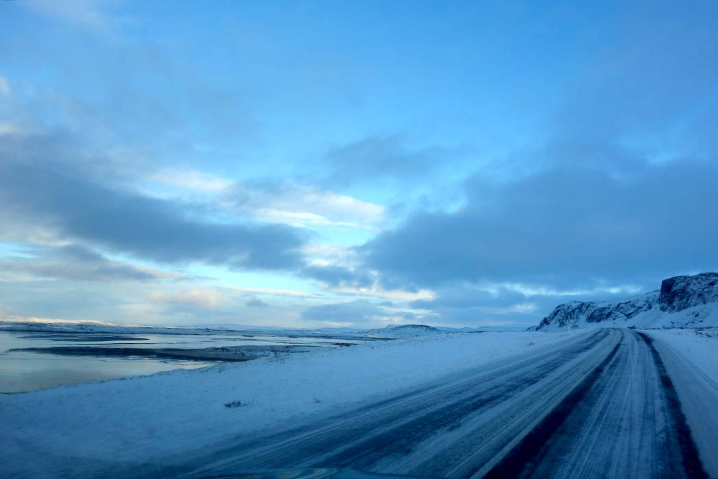 Driving to Bifrost Iceland