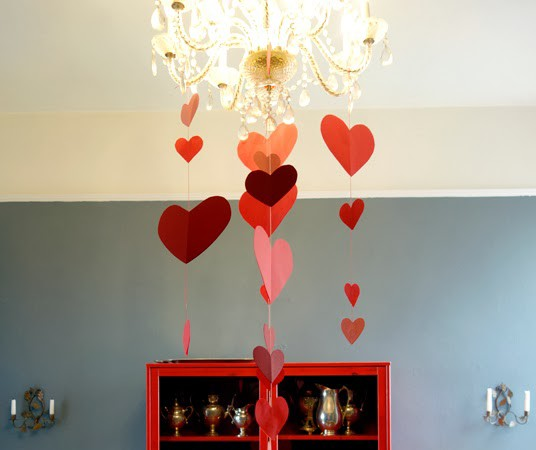 Paper Heart Valentine's Day Chandelier