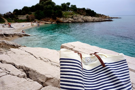 Picnic Lunch on the Beach in Kassiopi, Greece