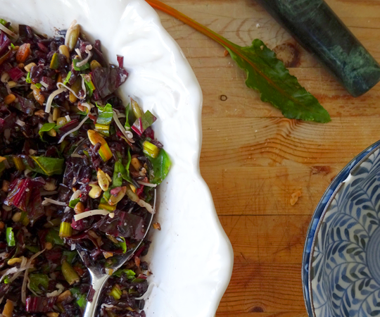 Black Rice Salad with Beet Greens, Nuts and Olives