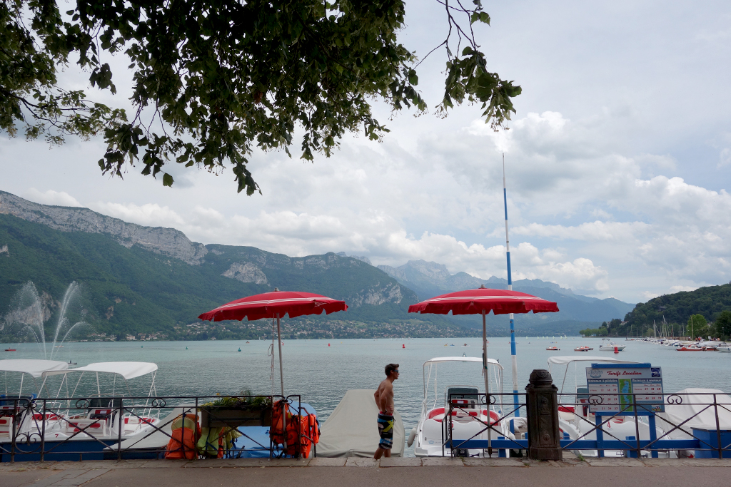 Get a paddleboat in Annecy, France