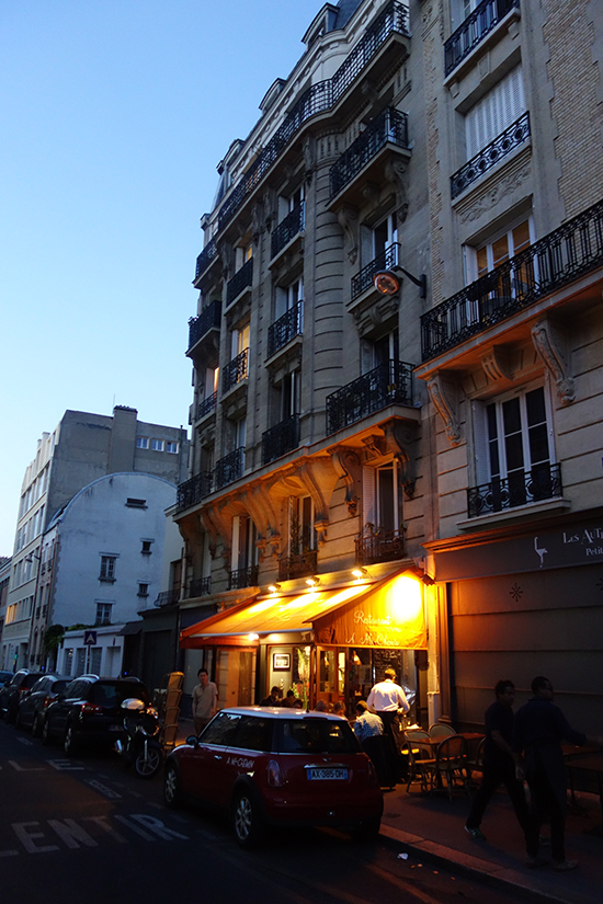 Paris bistro at dusk in the 14th