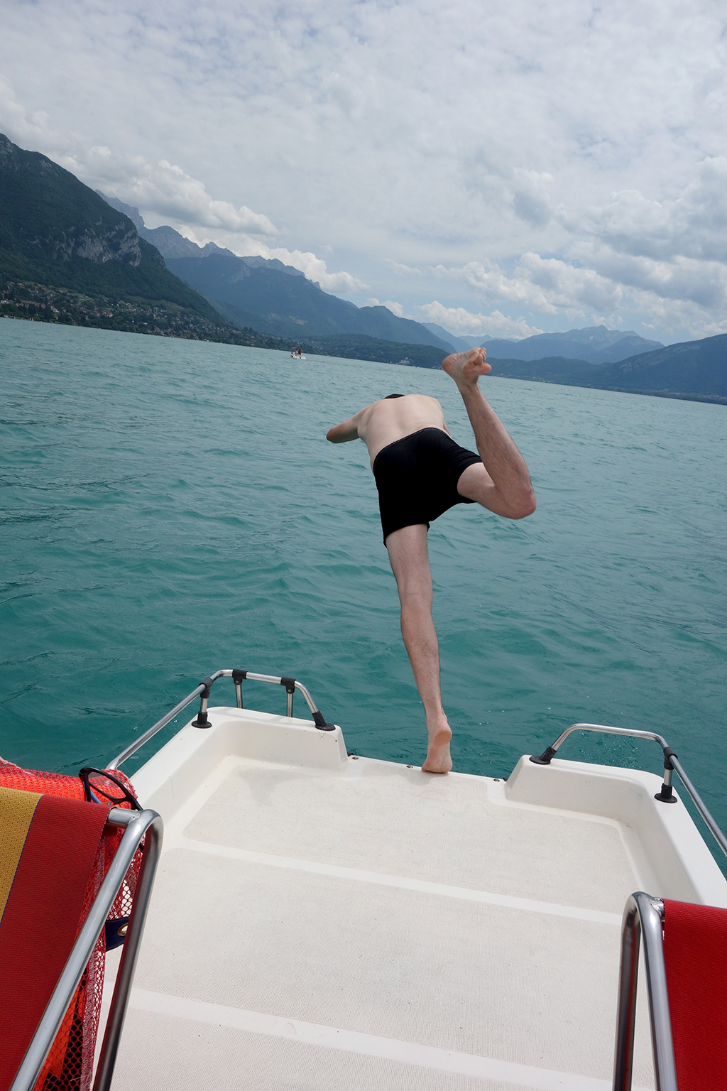 Rob jumps in Lake Annecy