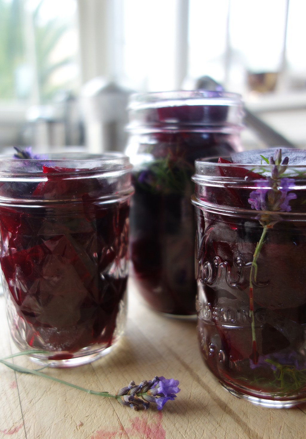 Pickled beets in jars