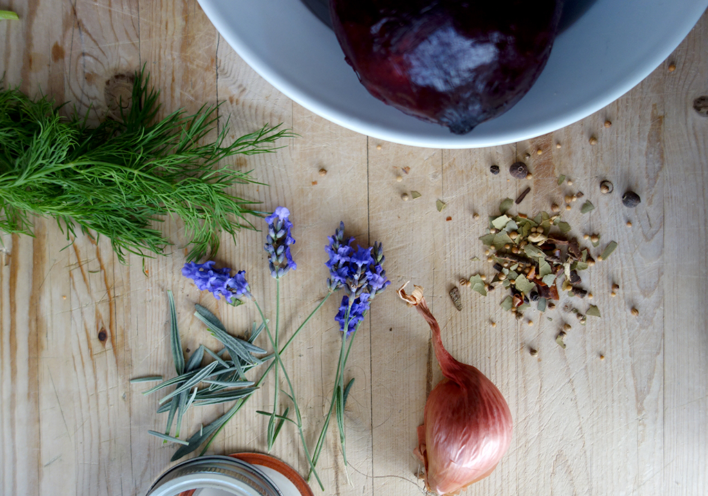 Pickling beets with lavender and dill