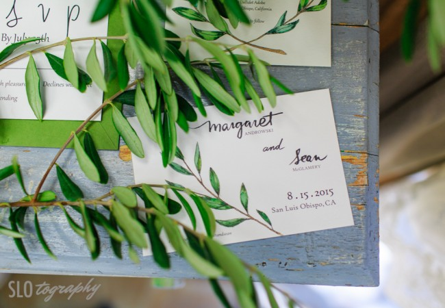 Hand-Painted Olive Branch Wedding Invitations