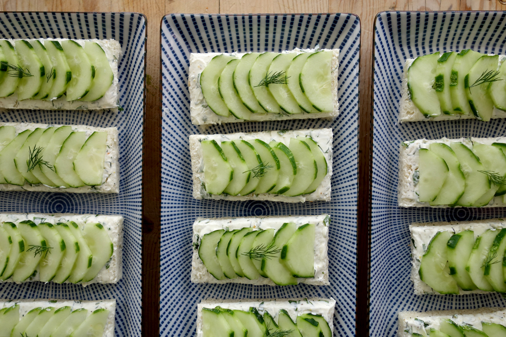 Open face cucumber tea sandwiches