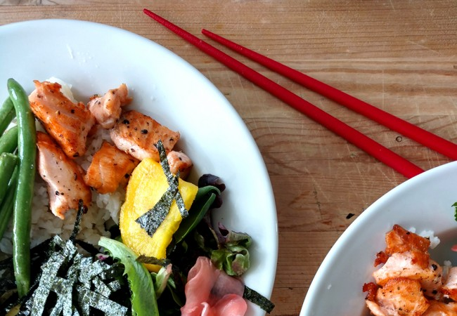 15-Minute Japanese Rice Bowls with Salmon and Avocado
