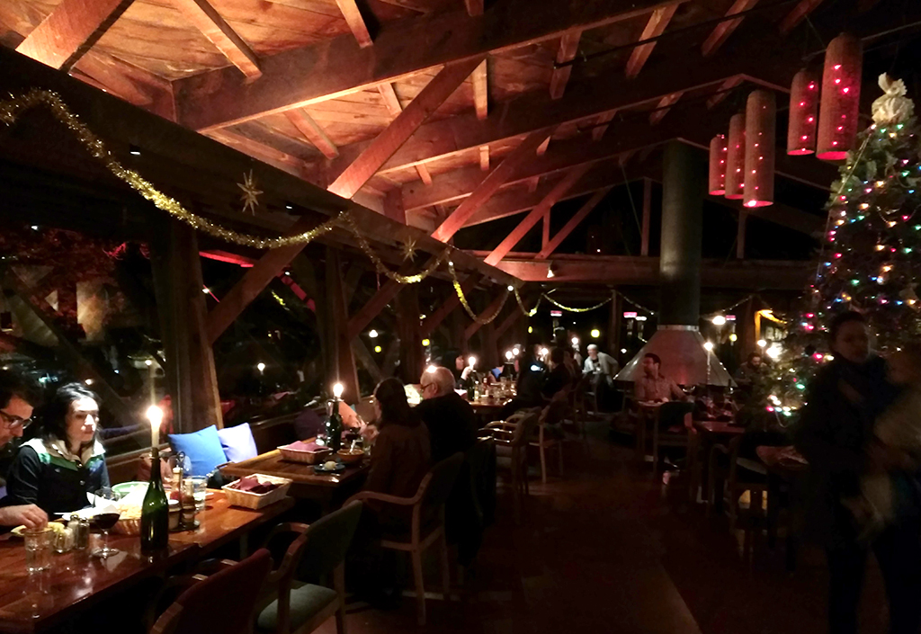 Nepenthe restaurant at night in December