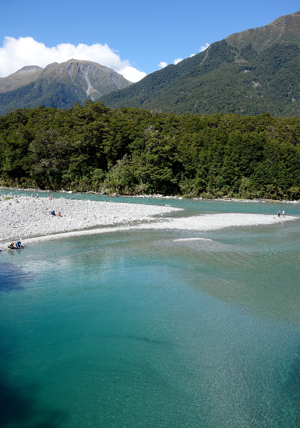 Blue water river in New Zealand