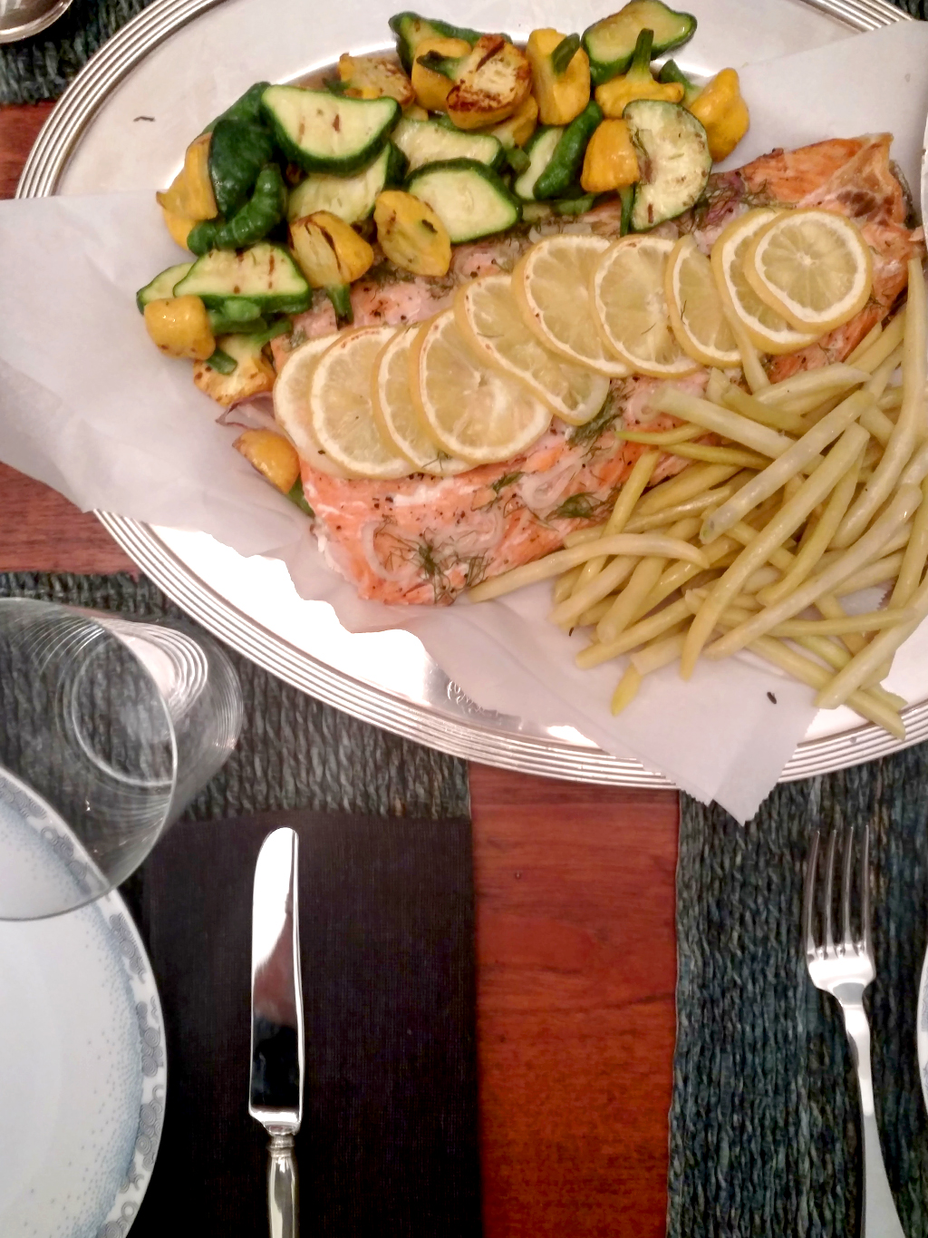 Spring squash and salmon