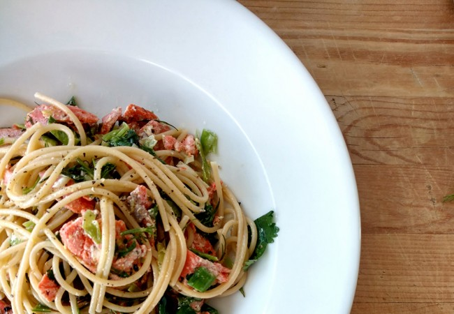 15-Minute Salmon Pasta with Green Garlic and Fresh Herbs