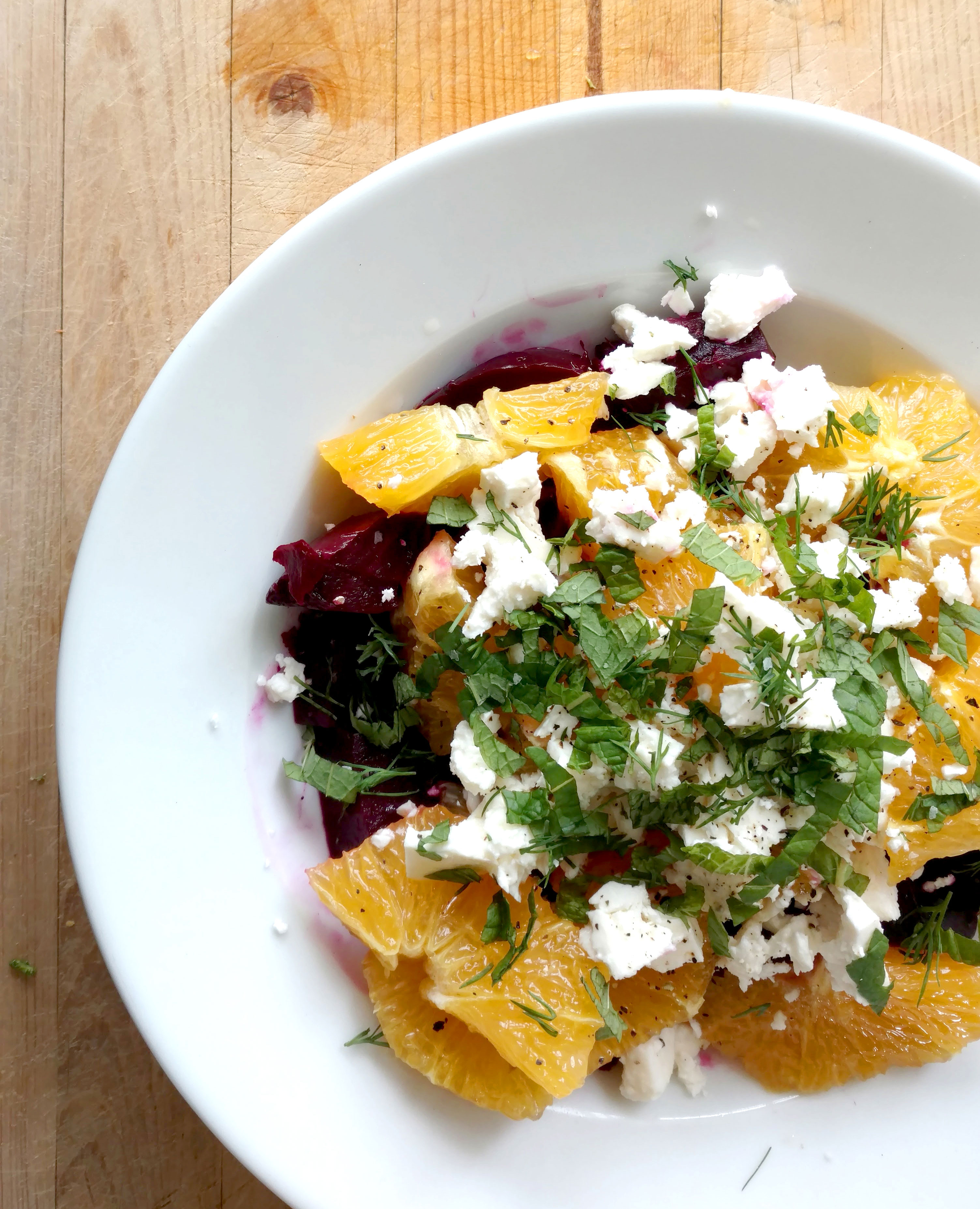 Roasted beet, orange and feta salad