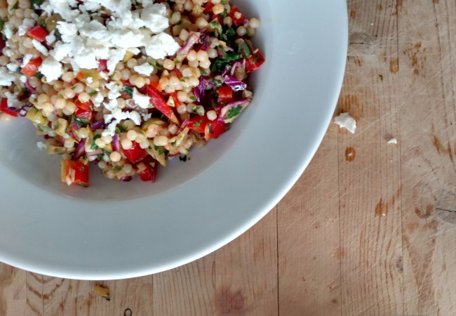 15-Minute Pearl Couscous Salad with Turmeric and Preserved Lemons