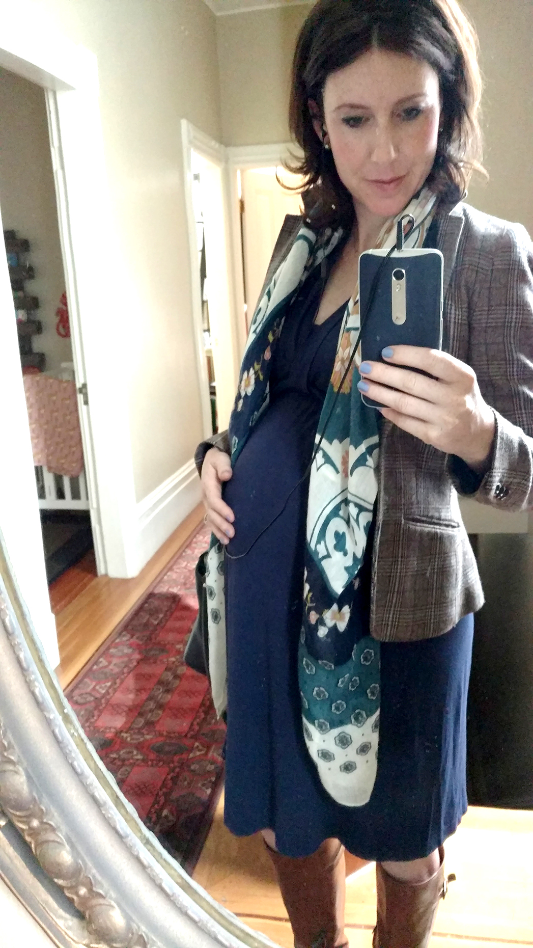 Blue maternity dress with a blazer and scarf