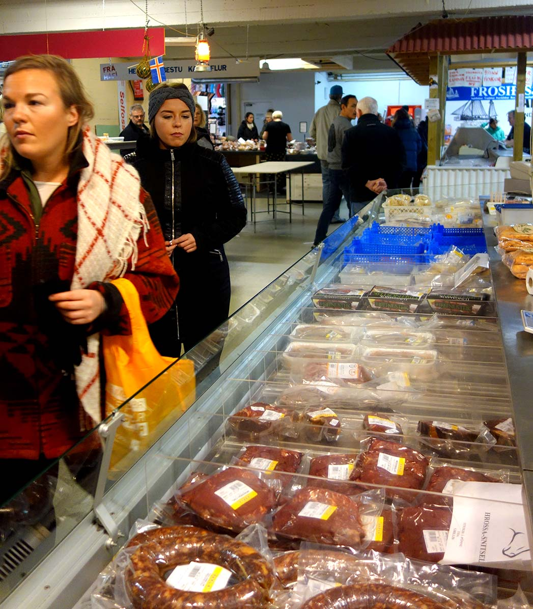 Shopping for local food in Iceland