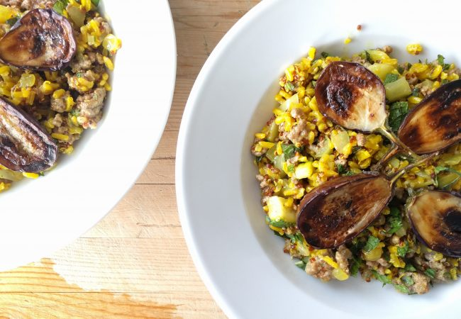 Lamb Pilaf with Preserved Lemons, Mint and Eggplant